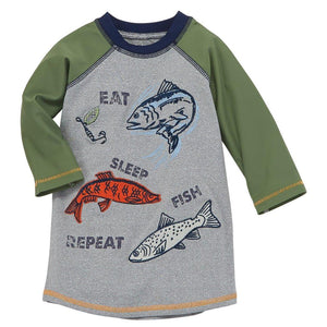 Mud Pie Kids Eat, Sleep, Fish Boys Swim Rash Guard Shirt