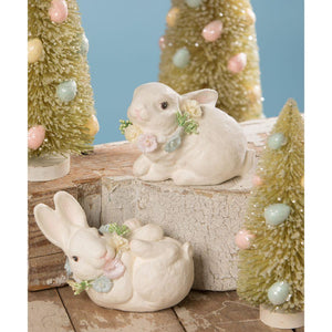 "Bethany Lowe Easter Bunny with Posey Flower Necklace 3""-3.25"" Figure - Set of 2"
