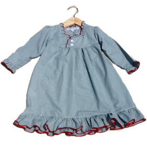 Sweet Dreams Green Gingham Checked Christmas Girls Nightgown