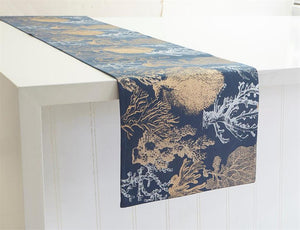 "KIG Exclusives Ocean Coral on Navy Background Print Table Runner 13"" x 72"""