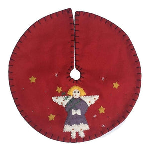 Handmade Angel on Red Background Christmas Felt Tree Skirt
