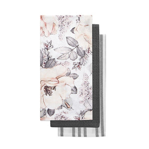 Pink Magnolia Floral Summer Print Black White Kitchen Towel Set of 3
