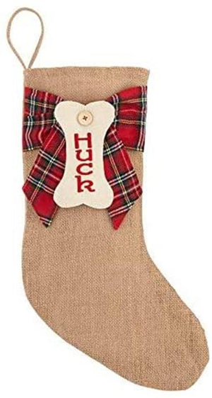 Burlap Red Stewart Tartan Plaid Dog Bone Tag Family Pet Christmas Stocking