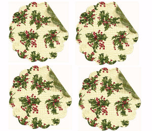 April Cornell Christmas Quilted 4 Round Table Placemats Set Holly Cream New