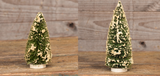 "Ragon House Retro Snow Covered Green Bottle Brush 7"" and 12"" Christmas Tree Set"