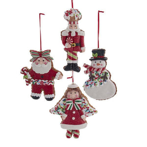 "5"" Chrismas Cookie Santa Snowman Nutcracker Ornament Set of 4"