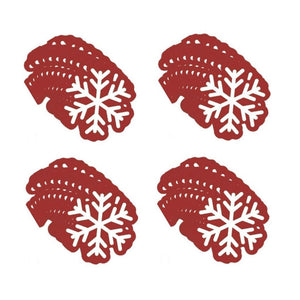Snowflake Shaped Christmas Paper Beverage Dessert Napkin 40 Ct - Red