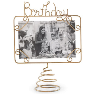 Mud Pie Home Birthday Collection Cake Topper Gold Wire Glitter Photo Holder