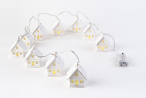 "Christmas Tree Holiday Garland 10 Miniature Houses with Lights, 4"" tall"