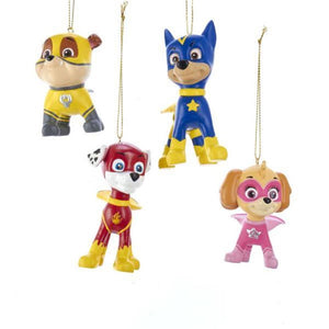 Kurt Adler Nick Jr Paw Patrol Marshall Rubble Chase Skye Dog Christmas Ornament Set of 4