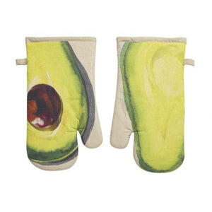 Summer Avocado Slice Green Print Kitchen Oven Hot Mitt Set of 2