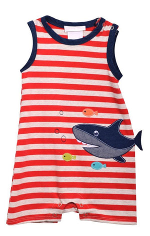 Bonnie Jean Red and White Striped Shortall Shorts Set with Shark Applique