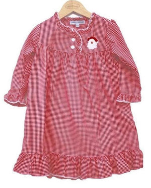 Santa Red Gingham Girls Christmas Nightgown LightweightRed/White
