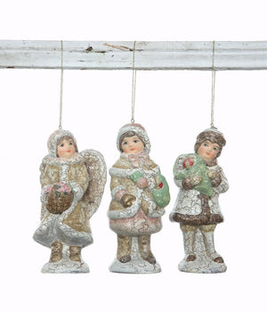 "Christmas Village Figures Set of 3 Village Children Ornaments, 5"" tall"