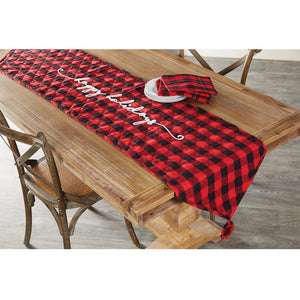 "Mud Pie Red Black Buffalo Check Quilted Christma Table Runner 18"" x 72"""