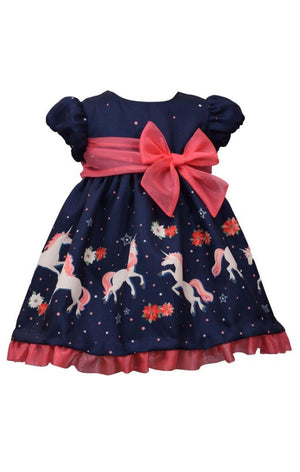 Bonnie Jean Baby Girls Dress Unicorn Magic Print Navy Ballerina Style