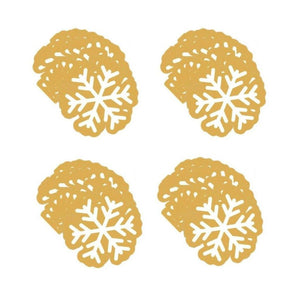 Snowflake Shaped Christmas Paper Beverage Dessert Napkin 40 Ct - Gold