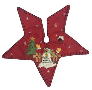 New World Arts Snowman on Red Background Star Shaped Christmas Tree Skirt