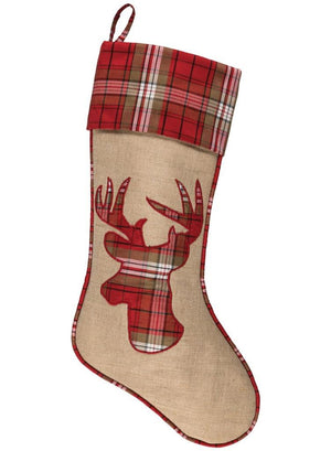 "Sullivans  19"" Linen Burlap and Plaid Christmas Stocking Stag Reindeer Applique"