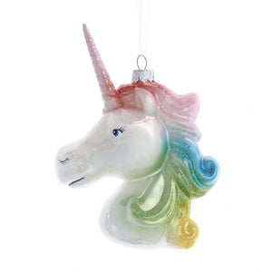 "Kurt Adler 5.5"" White Unicorn Rainbow Mane Christmas Ornament"