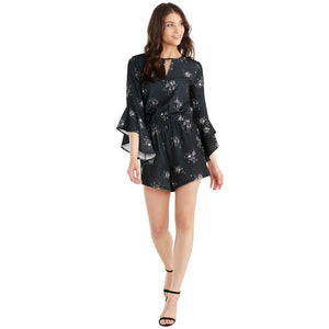 Mud Pie Womens Jules Long Sleeve Shorts Romper -Black Floral