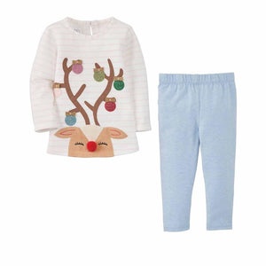 Mud Pie Kids Glitter All the Way Reindeer Christmas Top and Legging Set
