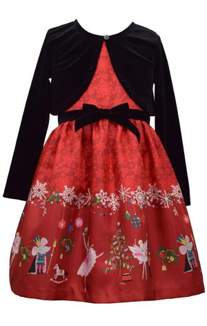 Bonnie Jean Christmas Nutcracker Ballet Print Shantung Dress and Velvet Cardigan Set