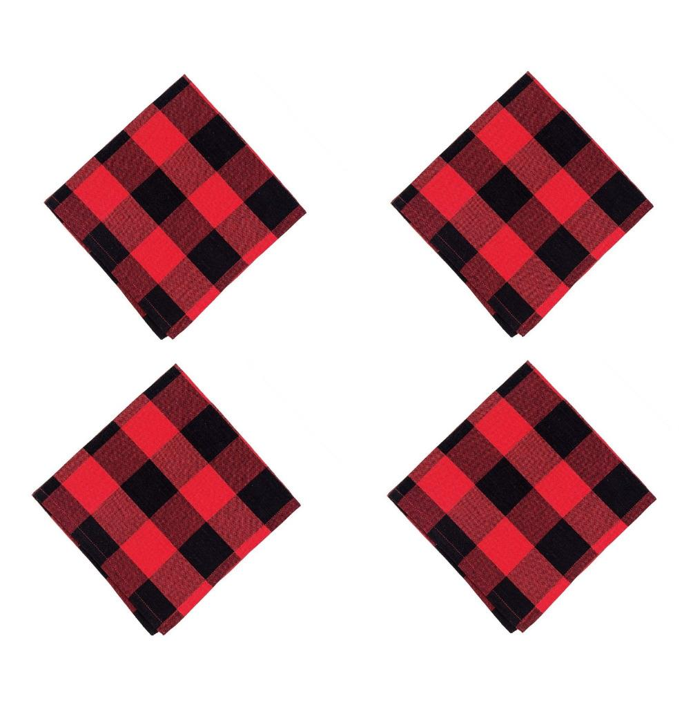 C & F Quilted Products Red and Black Buffalo Check Cloth Napkins-Set of 4