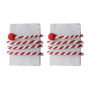 "KIG Exclusives 72"" Long Twisted Wool Felt Garland Cream/Red Set of 2 Red"