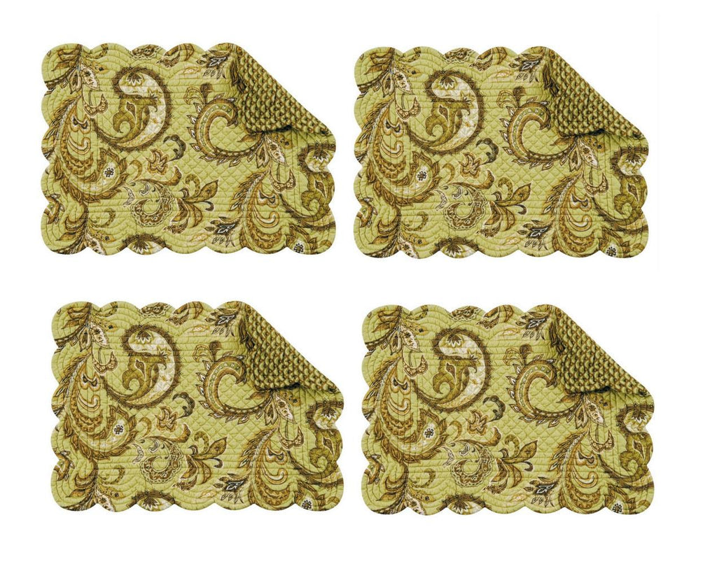 C & F Quilted Products Modesto Paisley Collection Rectangle Quilted Placemat-Set of 4