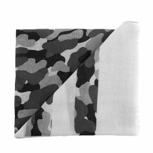 Mud Pie Womens Striped Camo Camouflage Womens Scarf Grey Black Color