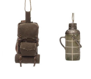 Camping Hiking Drink Water Canteen and Bedroll Backpack Christmas Ornament
