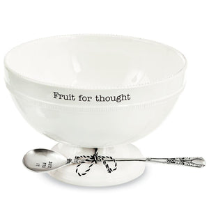 """Fruit for Thought"" White Footed Pedestal Serving Bowl Spoon Set"