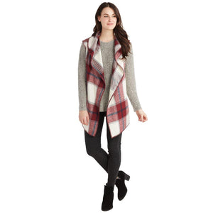 Mud Pie Womens Murphy Poly Wool Plaid Felt Blanket Vest Burgundy