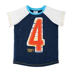Boys 4th Birthday Top Tee Shirt Navy Blue 4 On Front