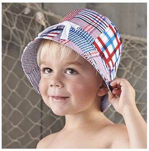 Mud Pie Boathouse Baby boys Madras Crab Sun Hat - Infant