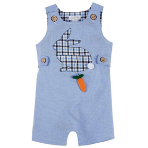 Mud Pie Kids Easter Bunny Applique Blue Oxford Boys Shortall 1 Pc Set