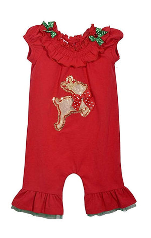 Bonnie Jean Christmas 1 Piece Red with Leaping Reindeer Applique Smocked Pants Set