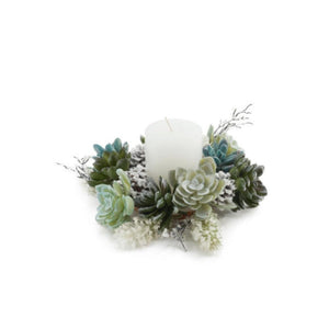 "Christmas Pillar Candle Ring with Succulents, Pine Boughs and Cones, 8"" Wide"