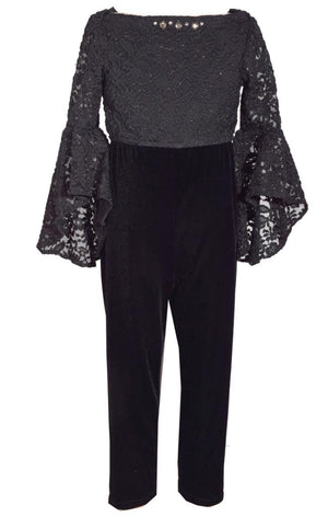 Bonnie Jean 3/4 Sleeve Foiled Lace Top and Stretch Velvet Jumpsuit Set