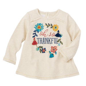 "Mud Pie Kids Girls Thanksgiving ""Oh So Thankful"" Sentiment Tunic Top"