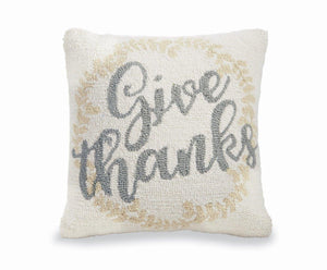 "Mud Pie Home ""Give Thanks"" Thanksgiving Hooked Wool Pillow- 16"" Square"