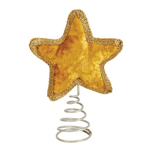 "7"" Tall Gold Plush Velvet Star Tabletop Christmas Tree Topper"