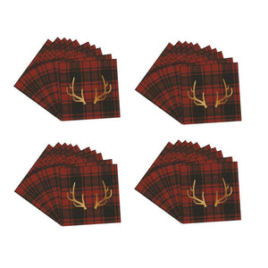 Lodge Collection Red and Black Buffalo Check Gold Stag Deer Antler Reindeer Napkin 40 Ct