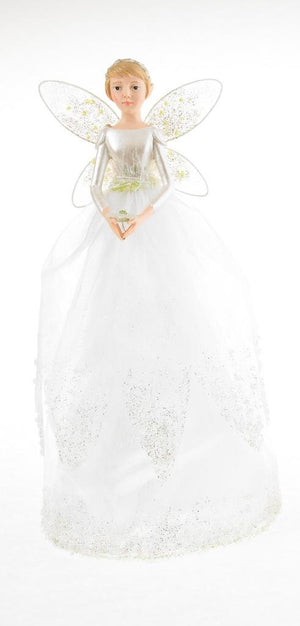 "11"" Snow Drop White Fairy Angel with Tulle Skirt Christmas Tree Topper"
