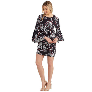 Mud Pie Womens Brooks Bell Sleeve Dress-Black Floral