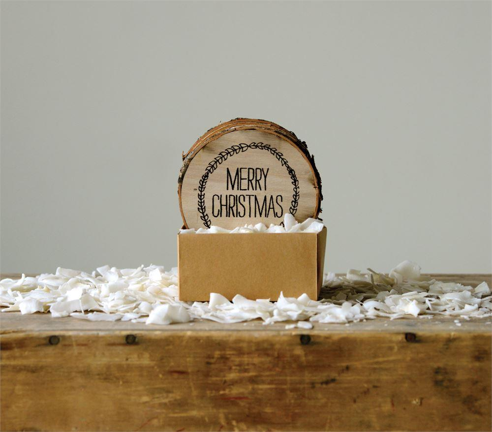 "Creative Co-op 4"" Wood Slice Drink Coaster wtih ""Merry Christmas"" Wreath Design-Set of 4"