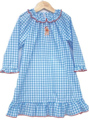 Gingerbread Blue Gingham Girls Christmas Nightgown Lightweight