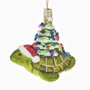 Kurt Adler Noble Gems Swimming Turtle with Christmas Tree Gifts Coastal Glass Ornament