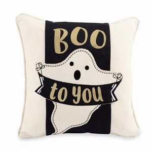"Mud Pie Home ""Boo to You"" Halloween Ghost Pillow Wrap and 15"" Canvas Pillow Set"